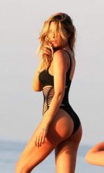 Abbey Clancy in Black Swimsuit in Majorca 7/24/2015