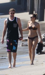 Miley Cyrus in Bikini at The Beach in Malibu-2