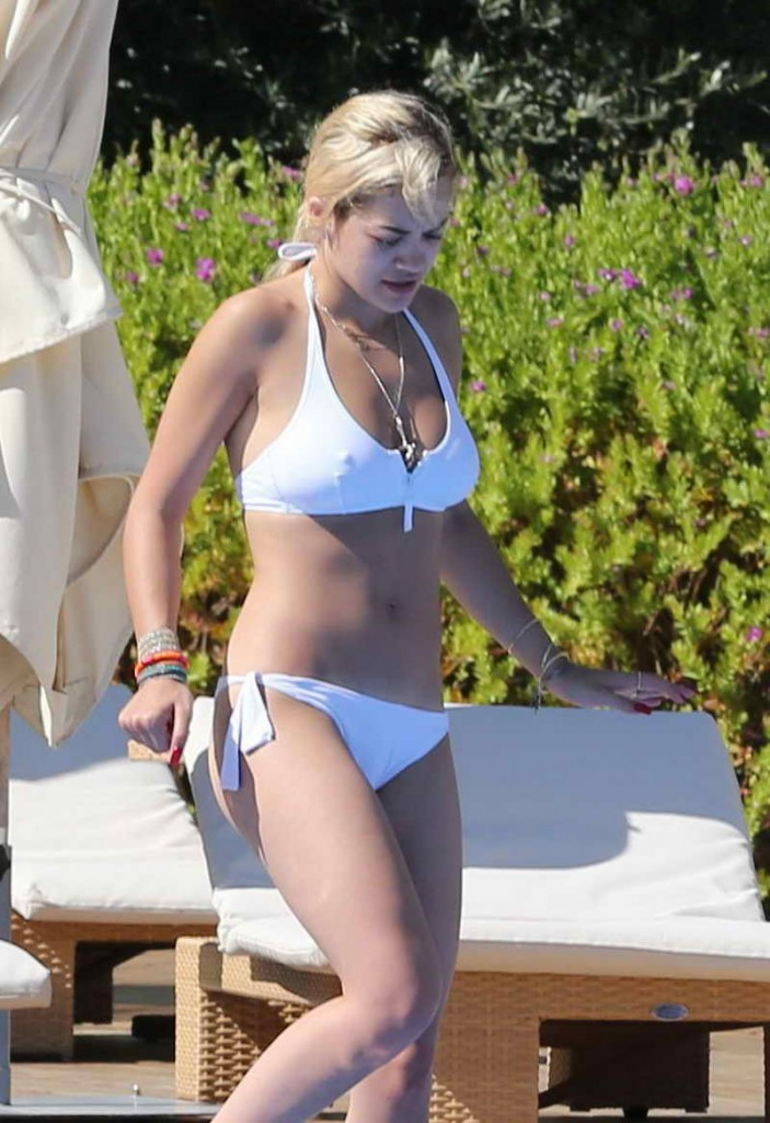 Rita Ora in White Bikini at a Pool in Ibiza-1
