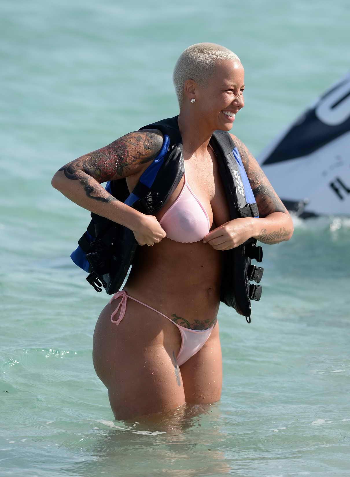 4277e331fd Amber Rose In Bikini At The Beach In Miami Lacelebs Co