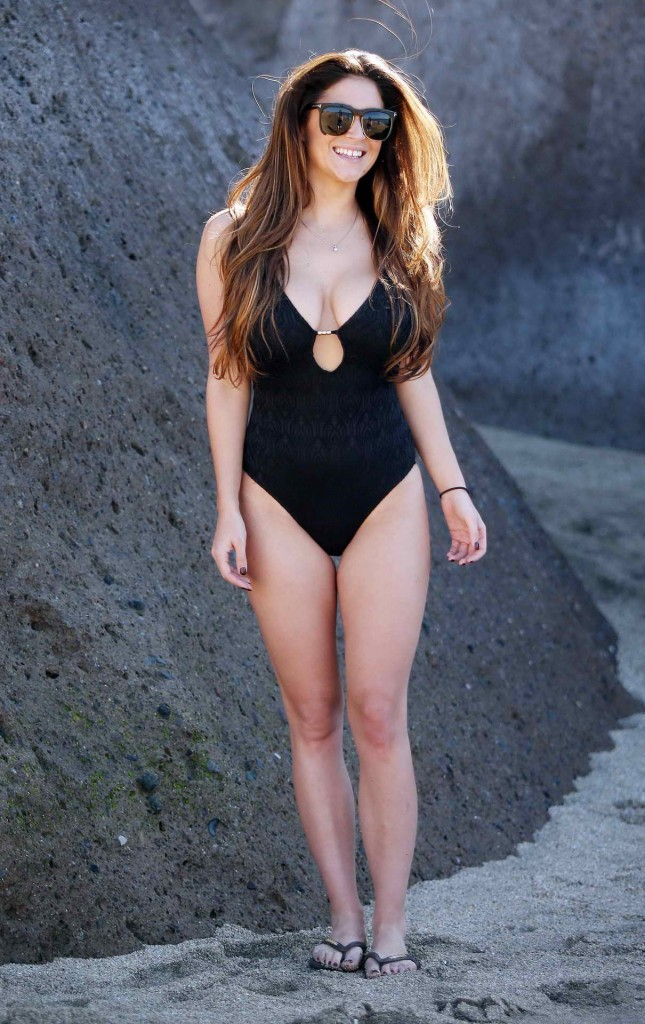 Casey Batchelor in Black Swimsuit in Tennerife-1