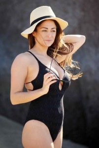 Casey Batchelor in Black Swimsuit in Tennerife-6