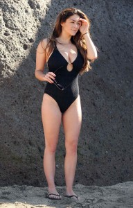 Casey Batchelor in Black Swimsuit in Tennerife-7