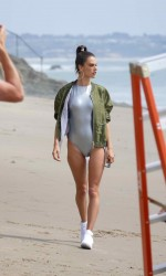 Alessandra Ambrosio in a One Piece at the Beach in Los Angeles 03/21/2016-3