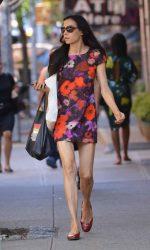 Famke Janssen Wearing a Floral Dress in Soho 06/17/2016-3