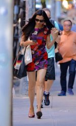 Famke Janssen Wearing a Floral Dress in Soho 06/17/2016-5