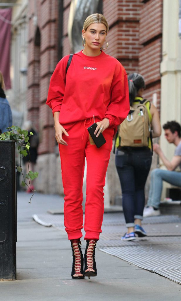 Hailey Baldwin Was Seen All in Red Out in Soho, New York 04/28/2017-1