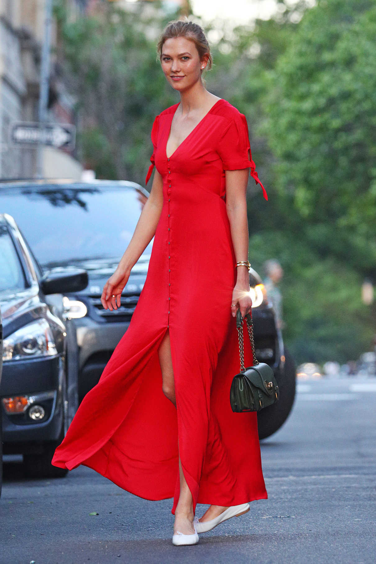 7cb779d8a2b Karlie Kloss Wears a Bright Red Dress Out in New York City 05 17 2017-5