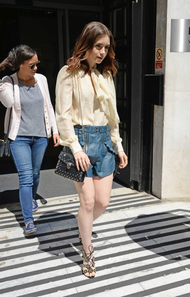 Lily Collins Leaves the BBC Radio 2 in London 05/26/2017-1