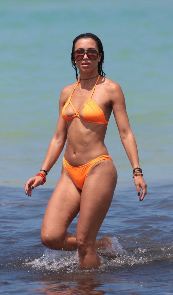 Metisha Schaefer in an Orange Bikini at the Beach in Miami 05/27/2017-1