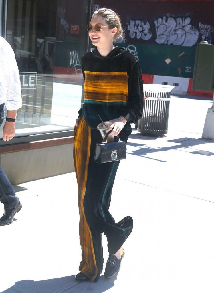 Gigi Hadid Wears a Black and Orange Outfit Out in NYC 06/20/2017-1