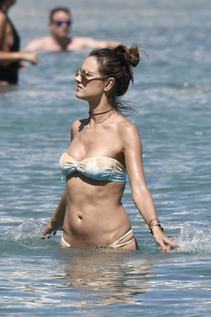 Alessandra Ambrosio in Bikini at the Beach in Mykonos 07/05/2017-1
