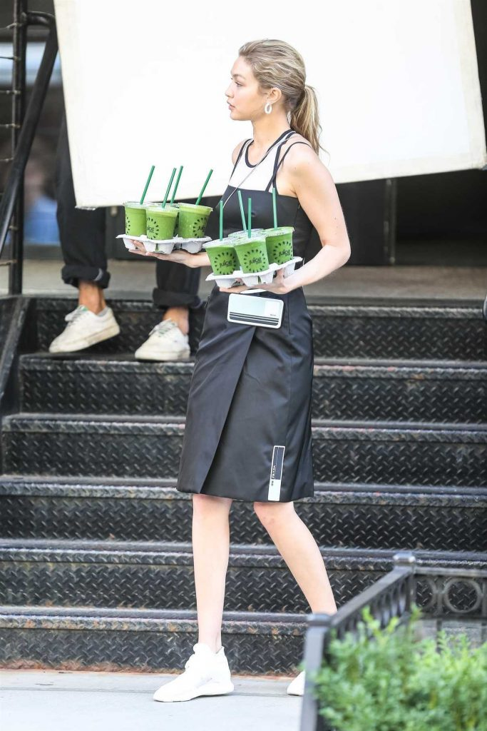 Gigi Hadid Does a Photo Shoot for Juice Press in Tribeca in NYC 07/30/2017-1