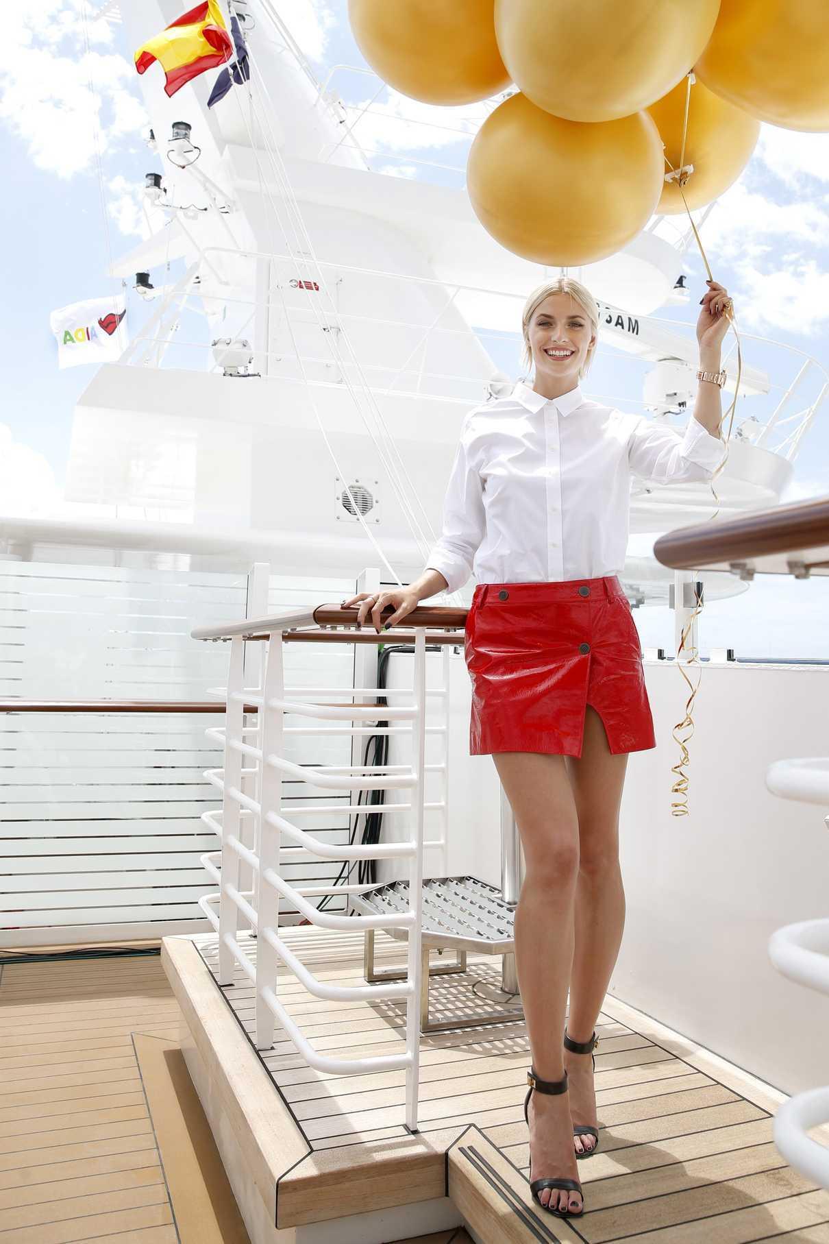 Lena Gercke Christens the AIDAperla Cruise Ship in Palma de Mallorca 06/30/2017-5