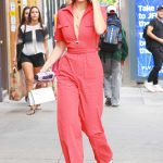 Bella Hadid Wears a Red Jumpsuit Out in NYC 08/25/2017-3