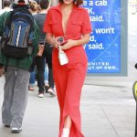 Bella Hadid Wears a Red Jumpsuit Out in NYC 08/25/2017-5