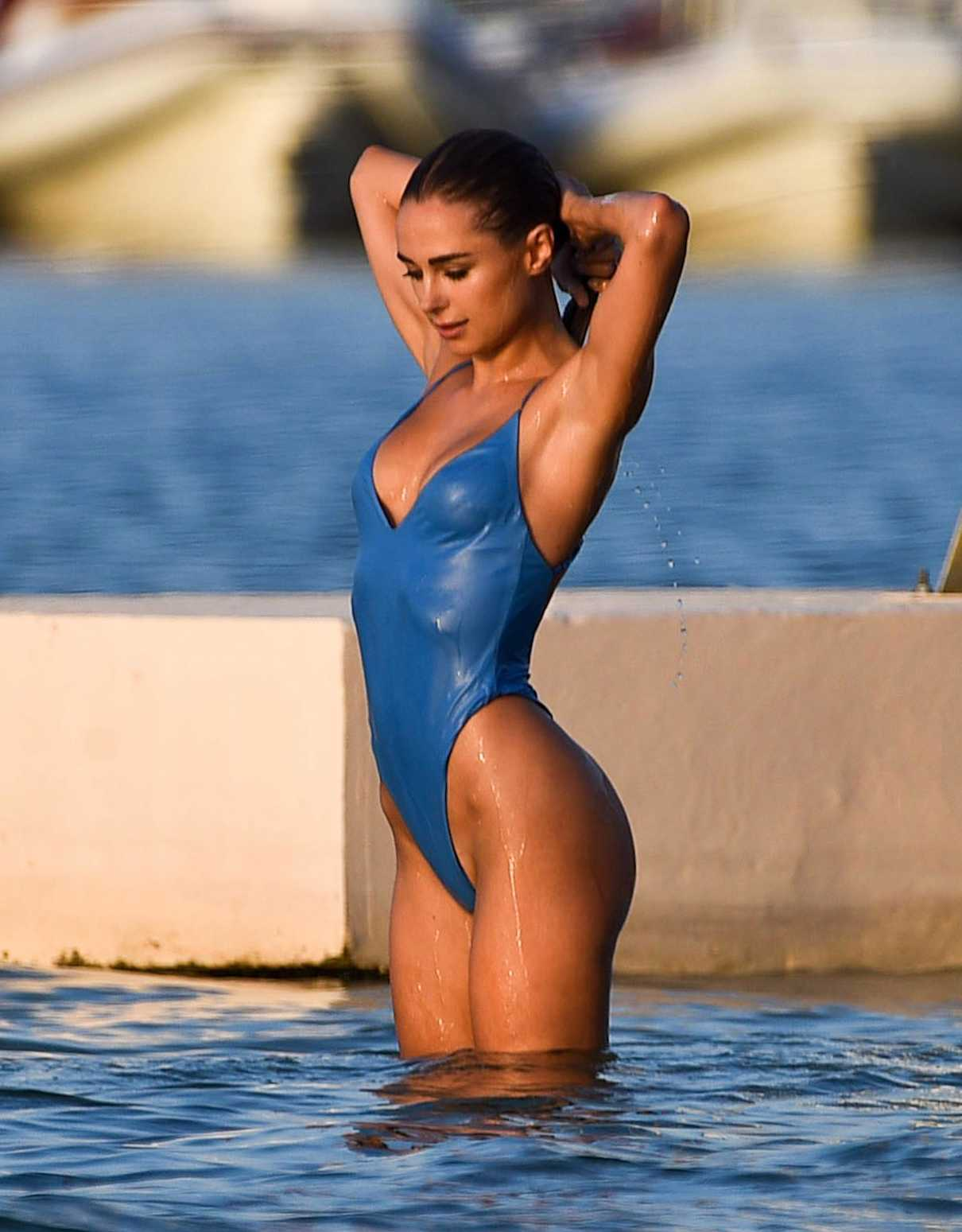 f4c49f410d67a Kimberley Garner Wears a Blue Swimsuit at the Beach in St Tropez 08 17 2017