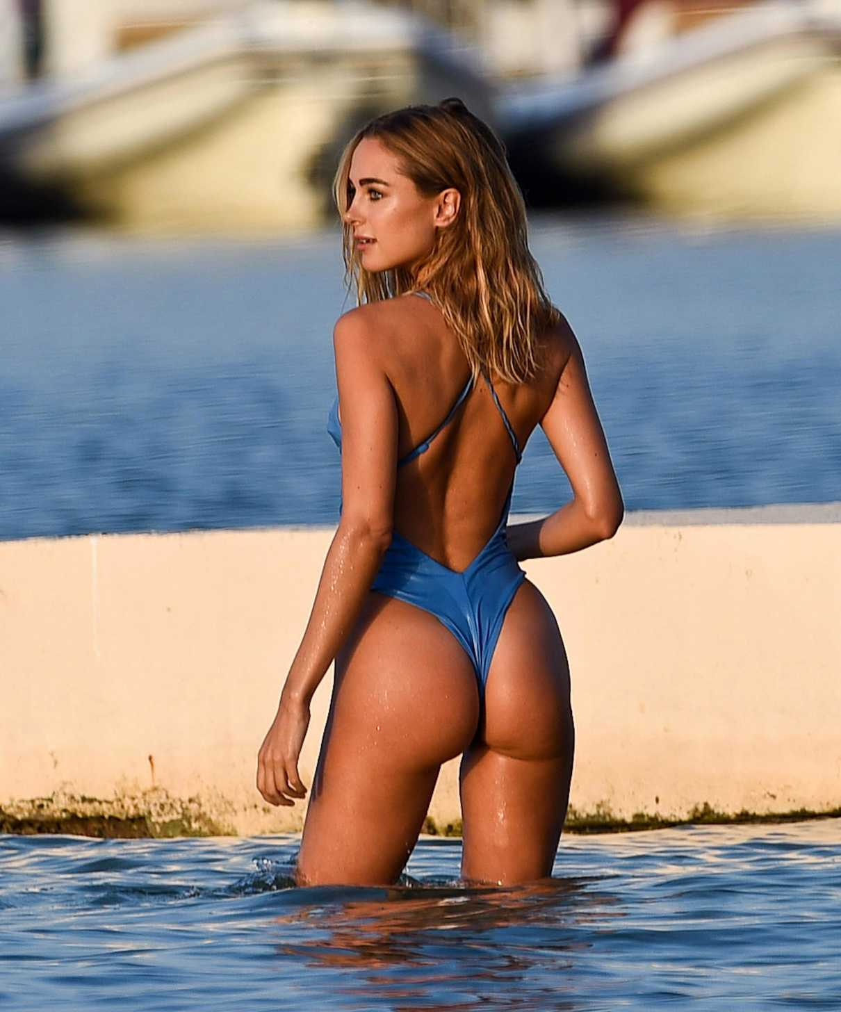 6a4c62a2f83ac Kimberley Garner Wears a Blue Swimsuit at the Beach in St Tropez  08 17 2017-2