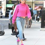 Gigi Hadid Wears a Pink Sweater Out in NYC 09/11/2017-2