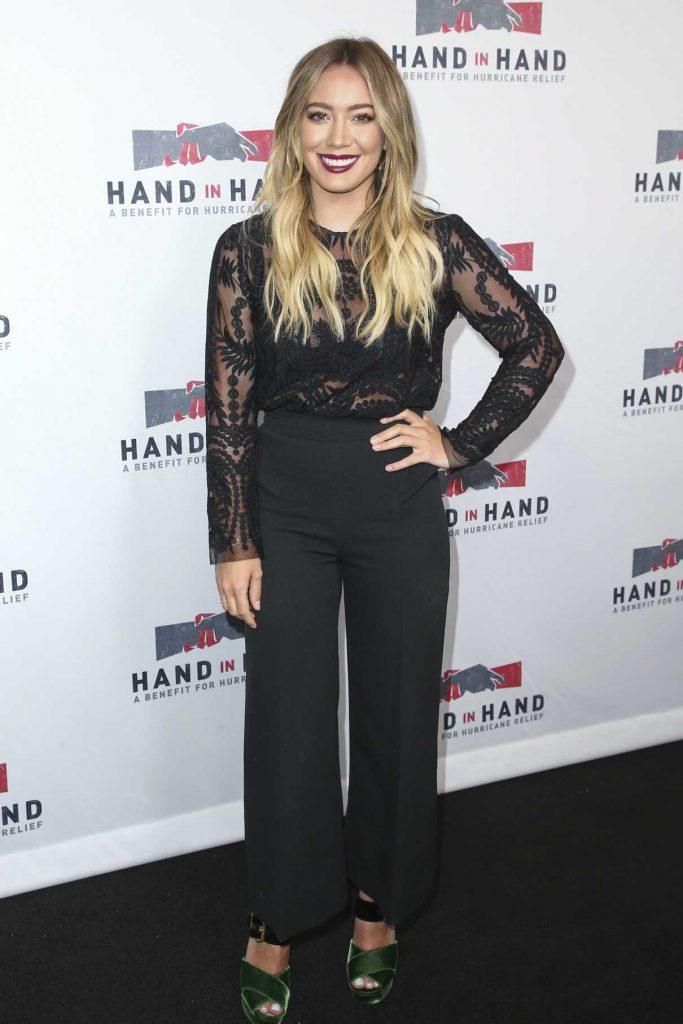 Hilary Duff at the Hand in Hand: A Benefit for Hurricane Harvey Relief in Los Angeles 09/12/2017-1
