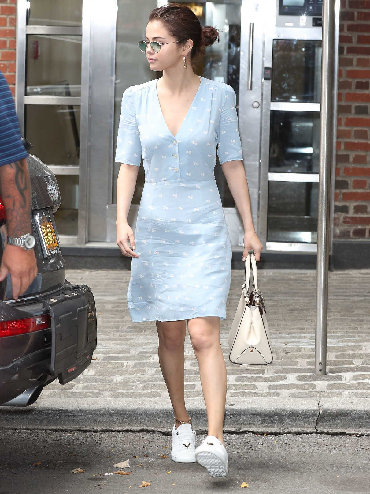 Selena Gomez Wears a Blue Dress in NYC 09/15/2017-2
