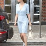 Selena Gomez Wears a Blue Dress in NYC 09/15/2017-3