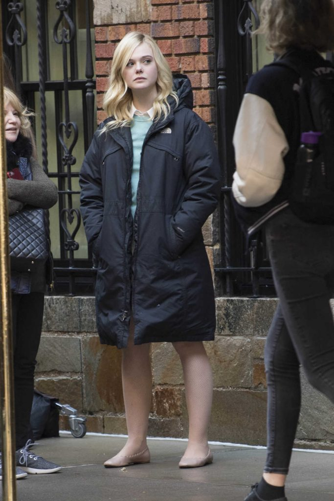 Elle Fanning on the Set of Woody Allen Film in NYC 10/18/2017-1