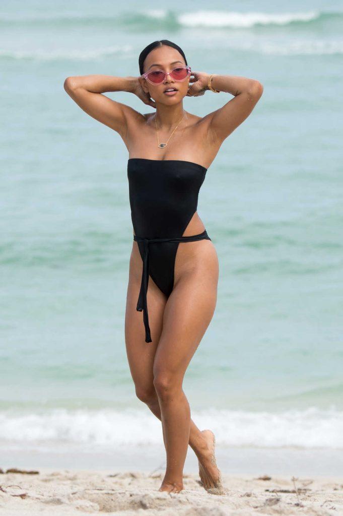 Karrueche Tran Wears a Black Swimsuit at the Beach in Miami 10/18/2017-1