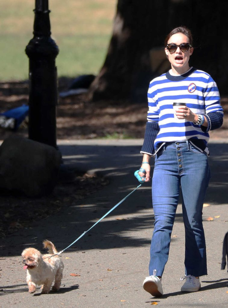 Olivia Wilde Walks Her New Dog Elvis Out in NYC 10/03/2017-1