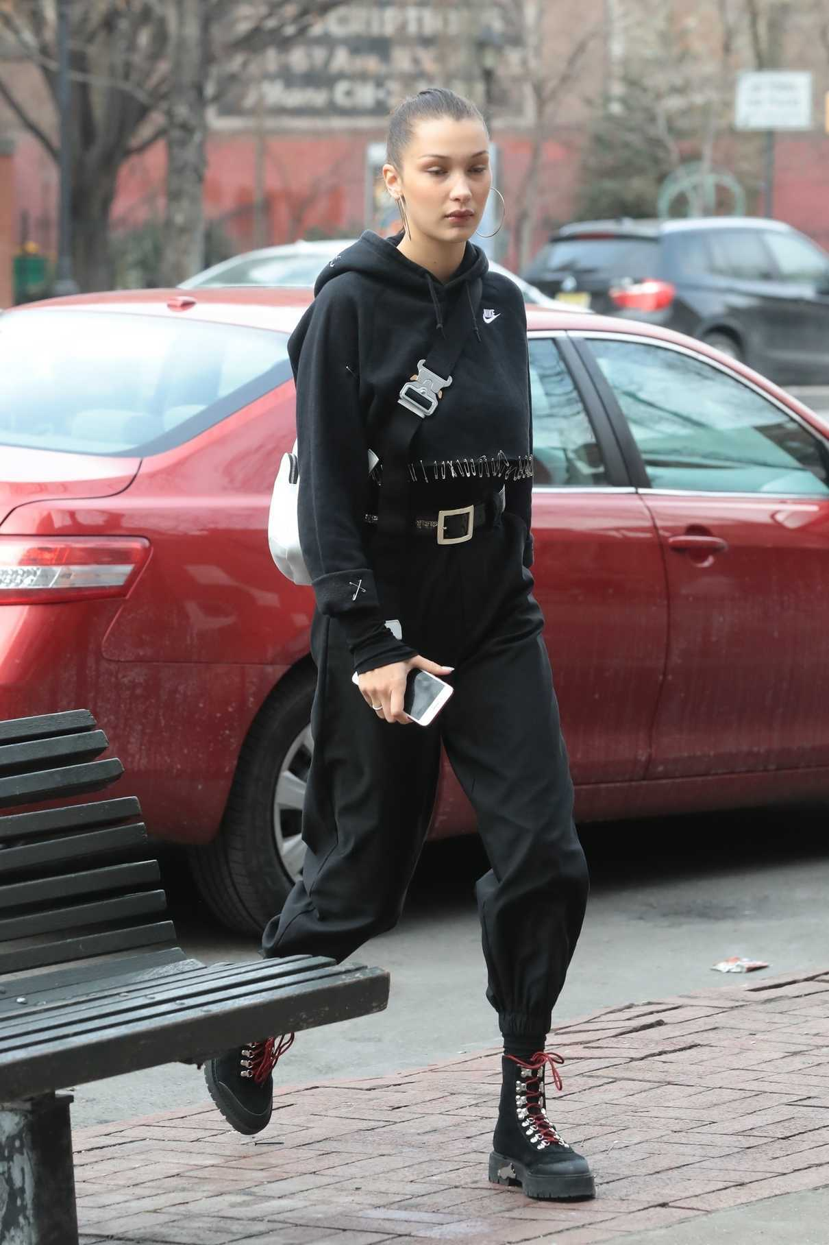 Bella Hadid Wears All Black Out in New York City 12/17/2017-2
