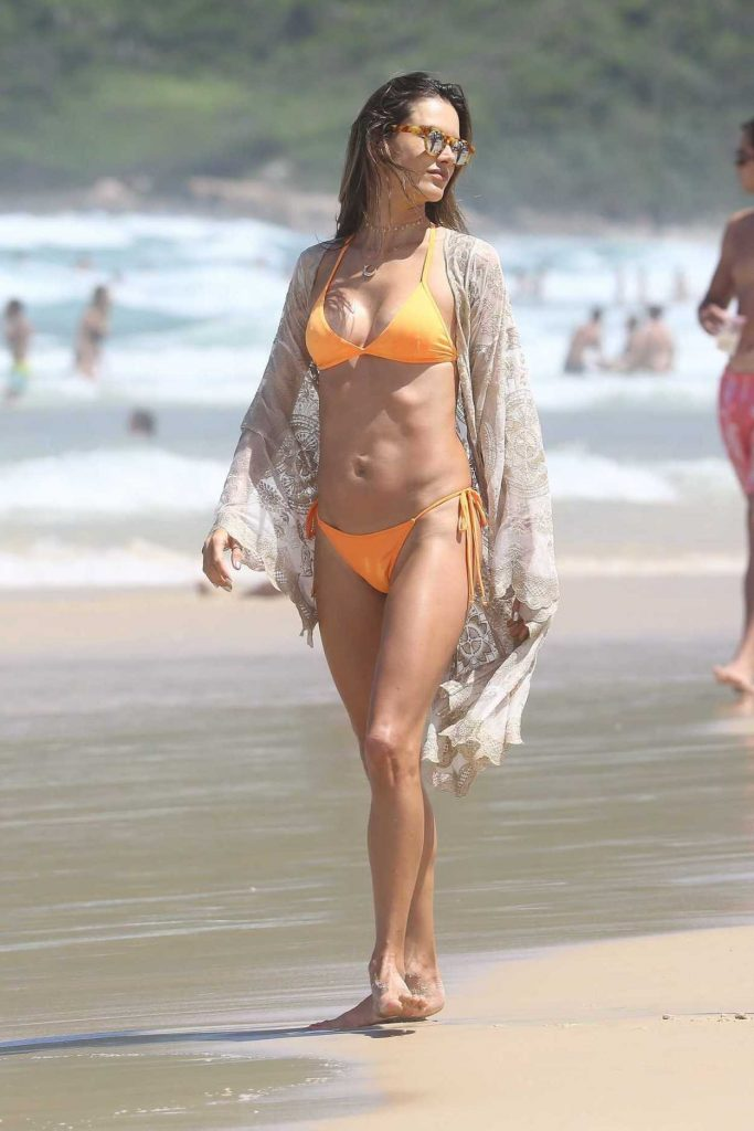 Alessandra Ambrosio Wears an Orange Bikini at the Beach in Brazil 12/31/2017-1