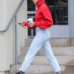 Hailey Baldwin Wears a Red Sweater Out in Los Angeles 01/08/2018-3
