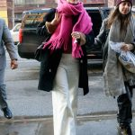 Saoirse Ronan Wears a Pink Scarf and White Pants Out in NYC 01/09/2018-2