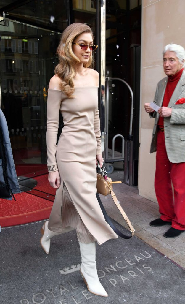 Gigi Hadid Leaves Le Royal Monceau Raffles Hotel in Paris 02/27/2018-1