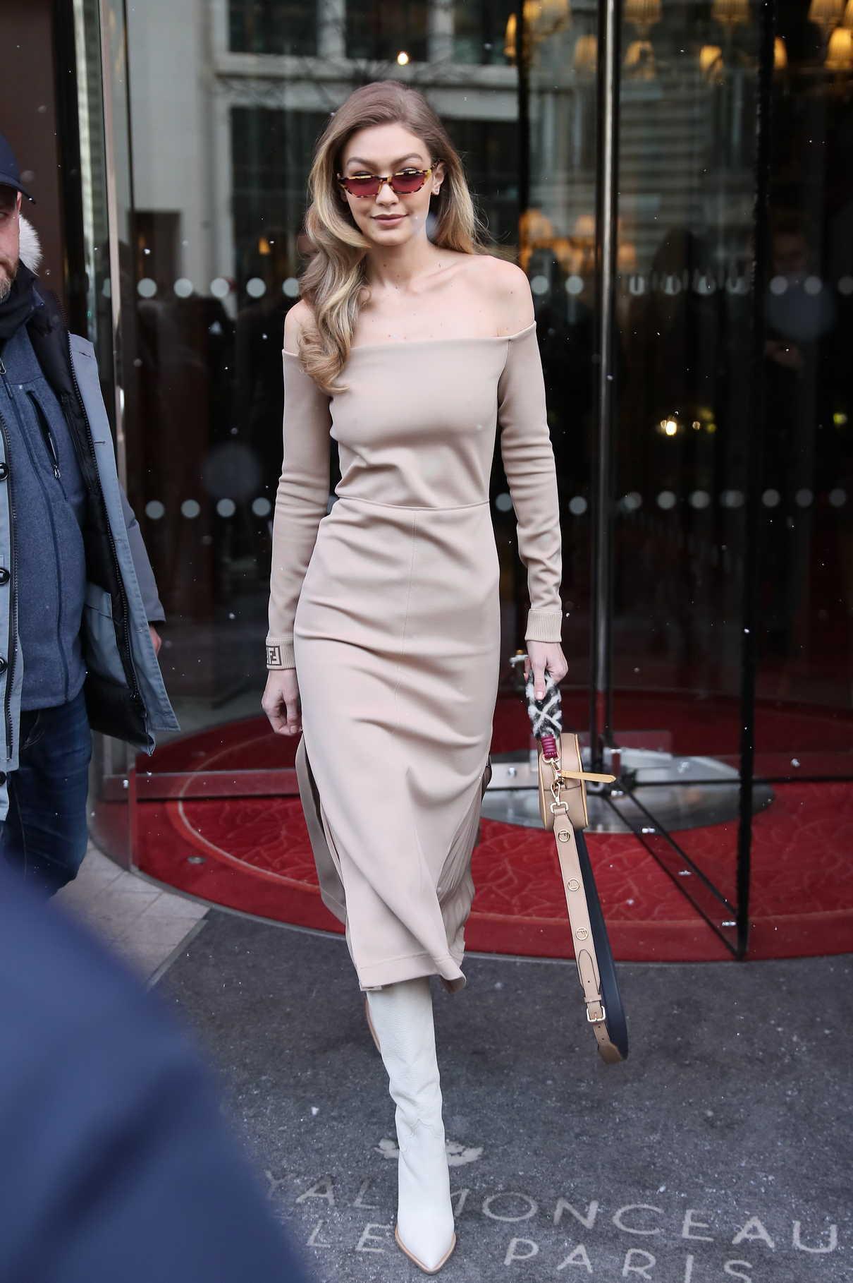 Gigi Hadid Leaves Le Royal Monceau Raffles Hotel in Paris 02/27/2018-3