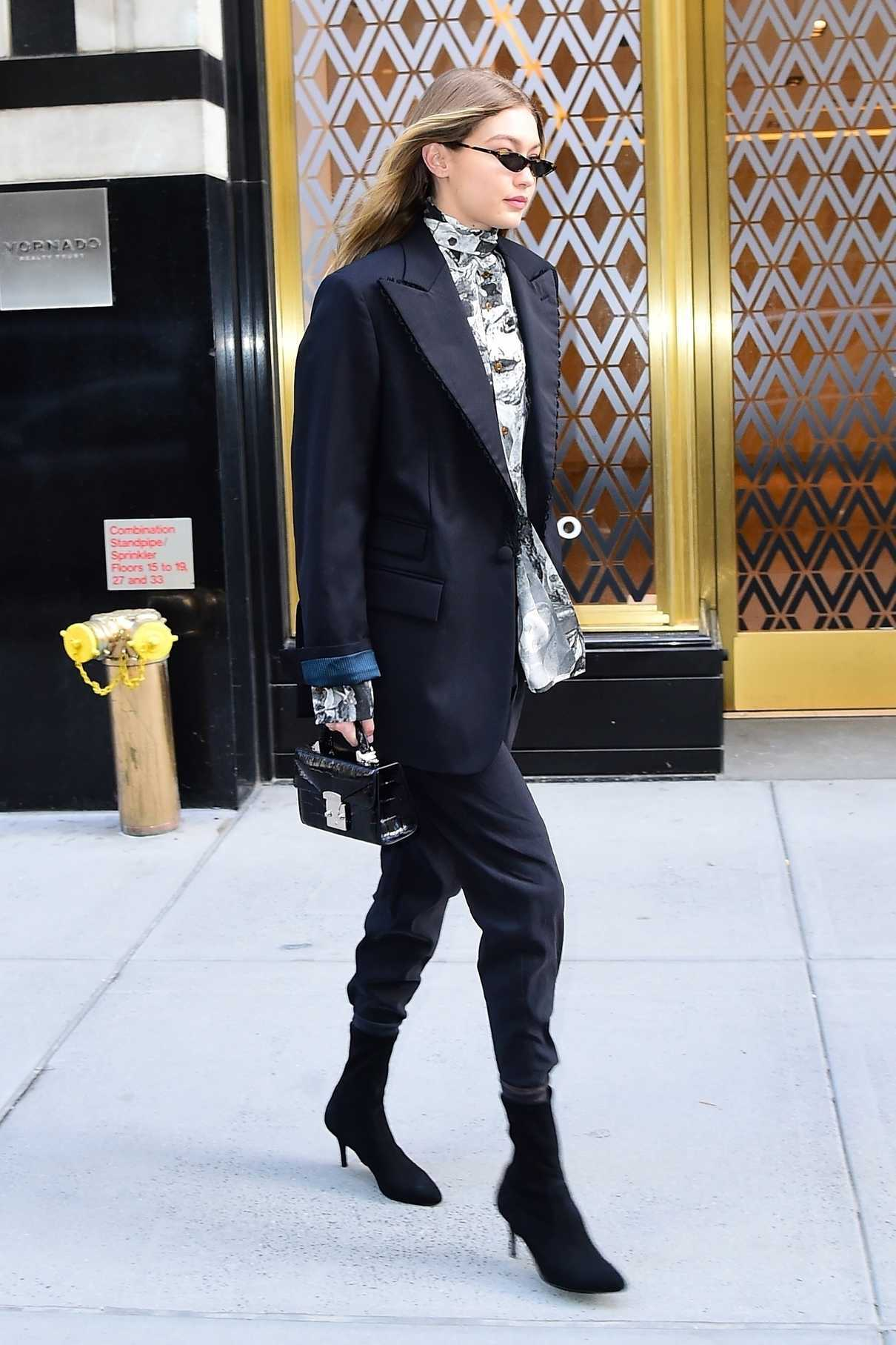 Gigi Hadid Wears a Pant Suit During New York Fashion Week in New York City 02/08/2018-4