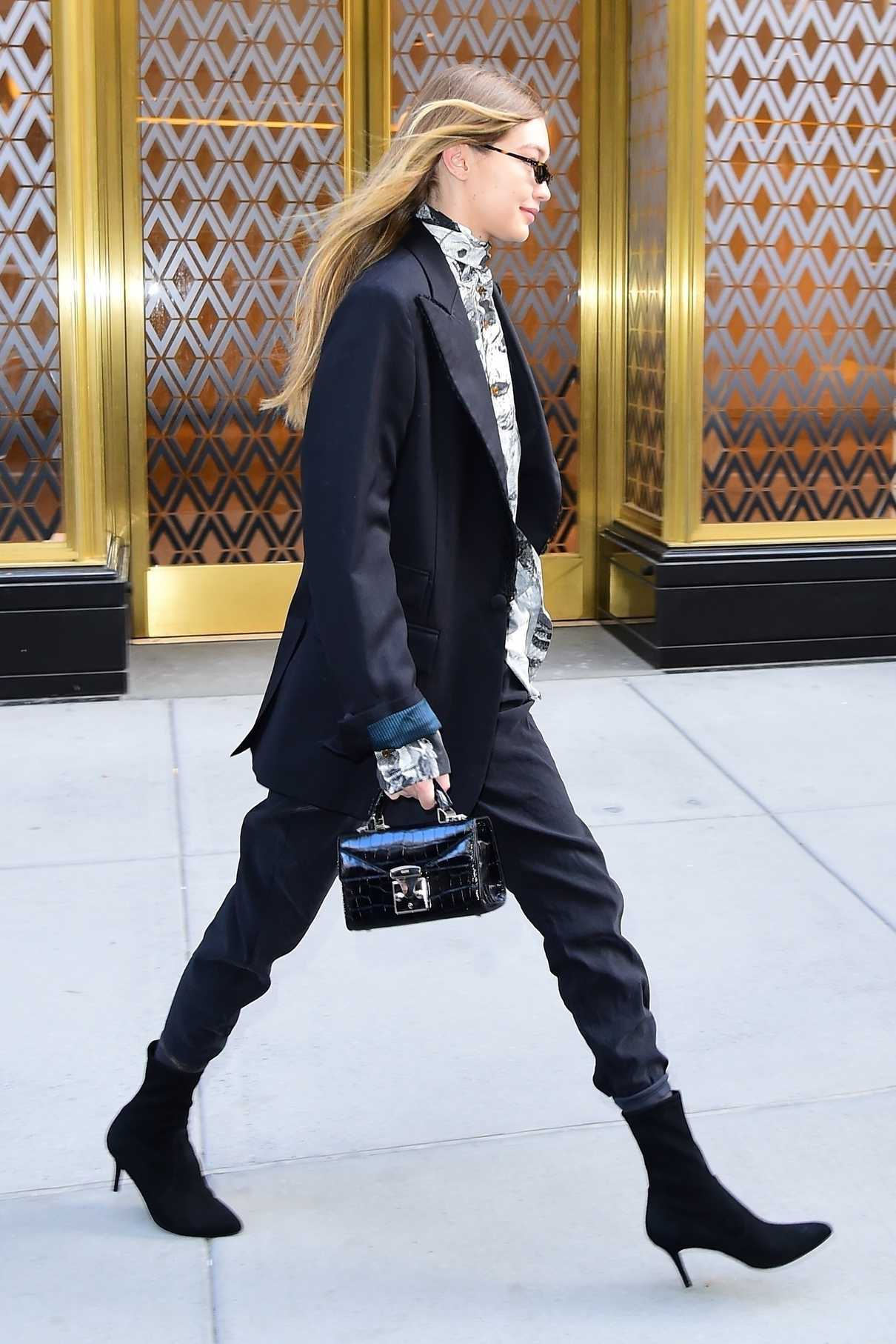 Gigi Hadid Wears a Pant Suit During New York Fashion Week in New York City 02/08/2018-5