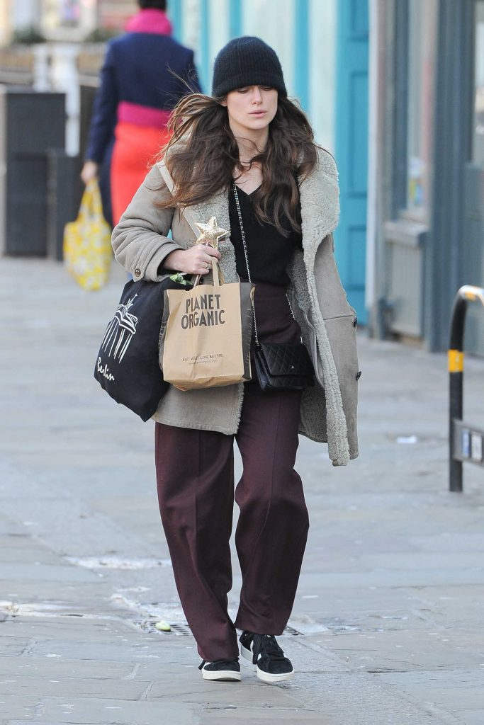 Keira Knightley Wears a Burberry Coat in North London 02/03/2018-1