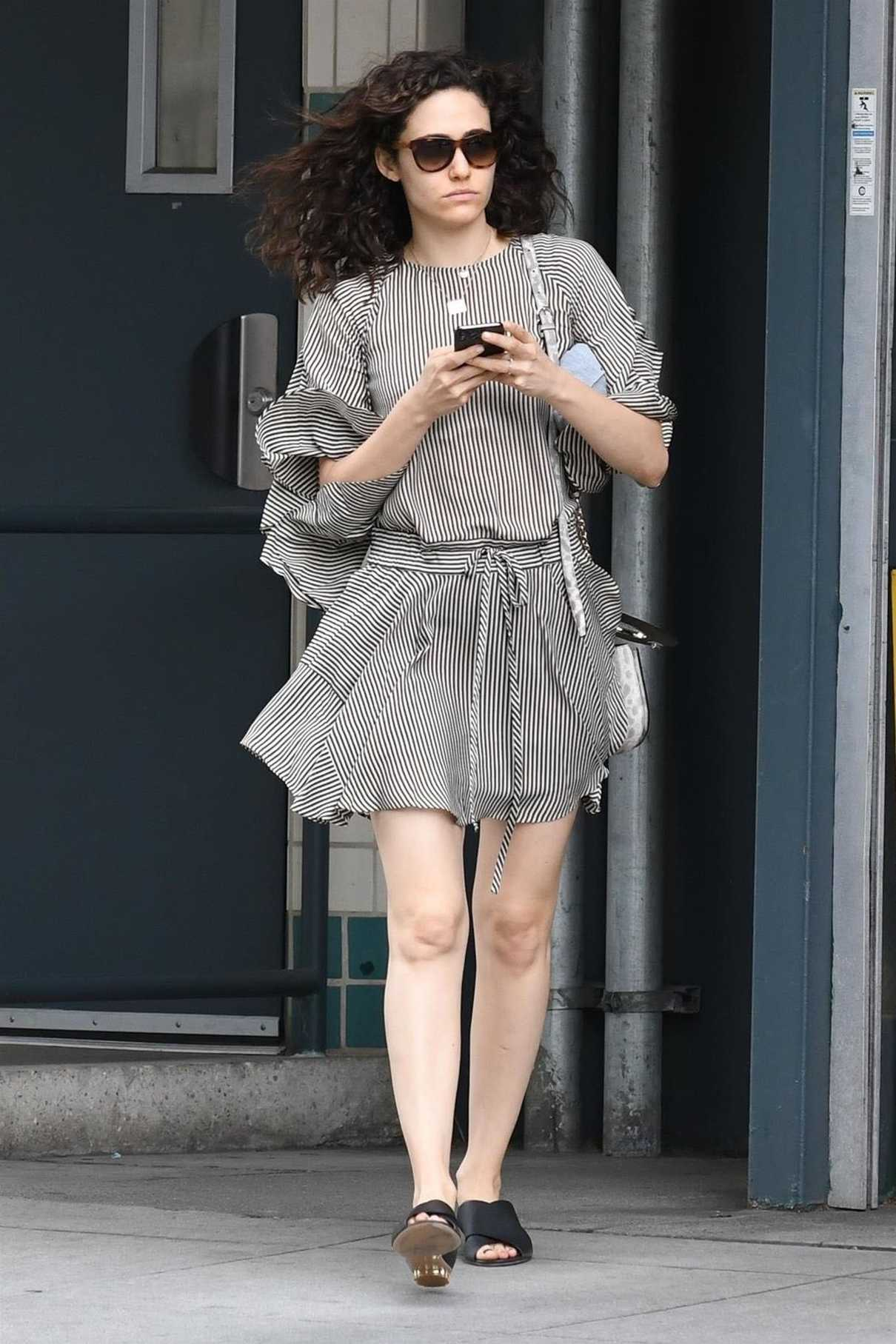 Emmy Rossum Wears a Striped Dress Out in Beverly Hills 03/19/2018-2