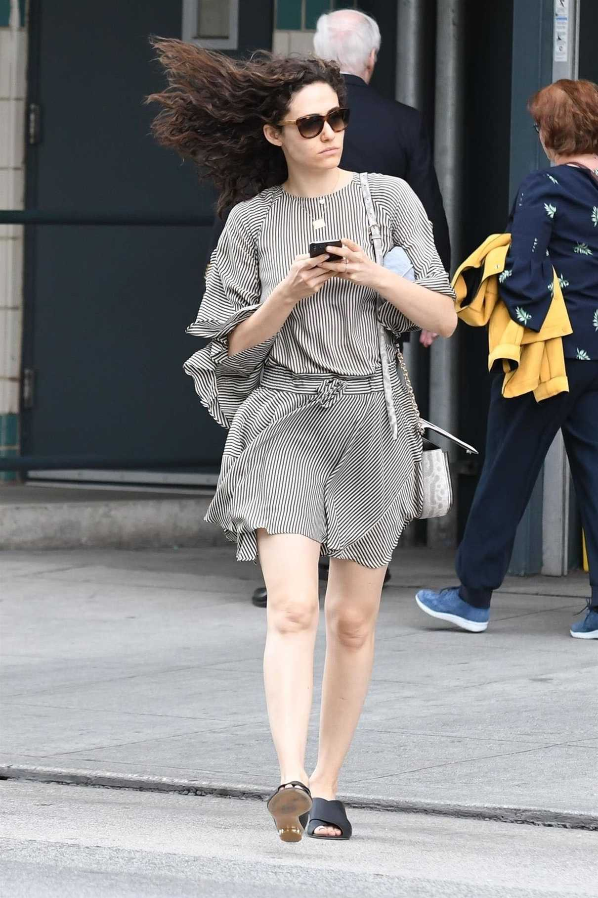Emmy Rossum Wears a Striped Dress Out in Beverly Hills 03/19/2018-3