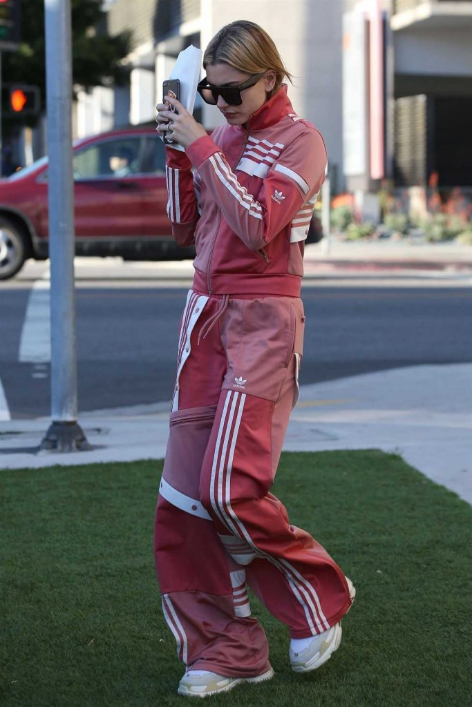Hailey Baldwin Wears Adidas Track Suit as She Goes Shopping at Barneys NY in Beverly Hills 03/23/2018-1