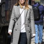 Kate Mara Wears a Plaid Coat Out in New York City 03/17/2018-5