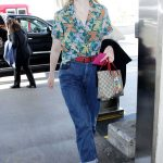 Elle Fanning Wears a Colorful Cat Patterned Shirt at LAX Airport in LA 04/20/2018-3