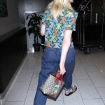 Elle Fanning Wears a Colorful Cat Patterned Shirt at LAX Airport in LA 04/20/2018-5