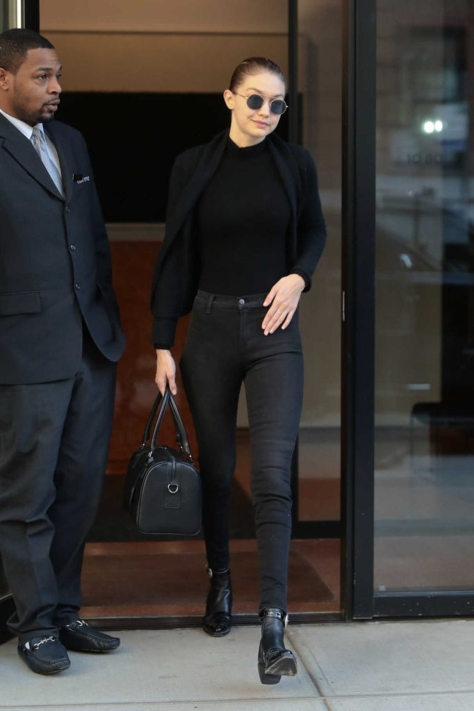 Gigi Hadid Wears All Black Out in NYC 04/11/2018-1