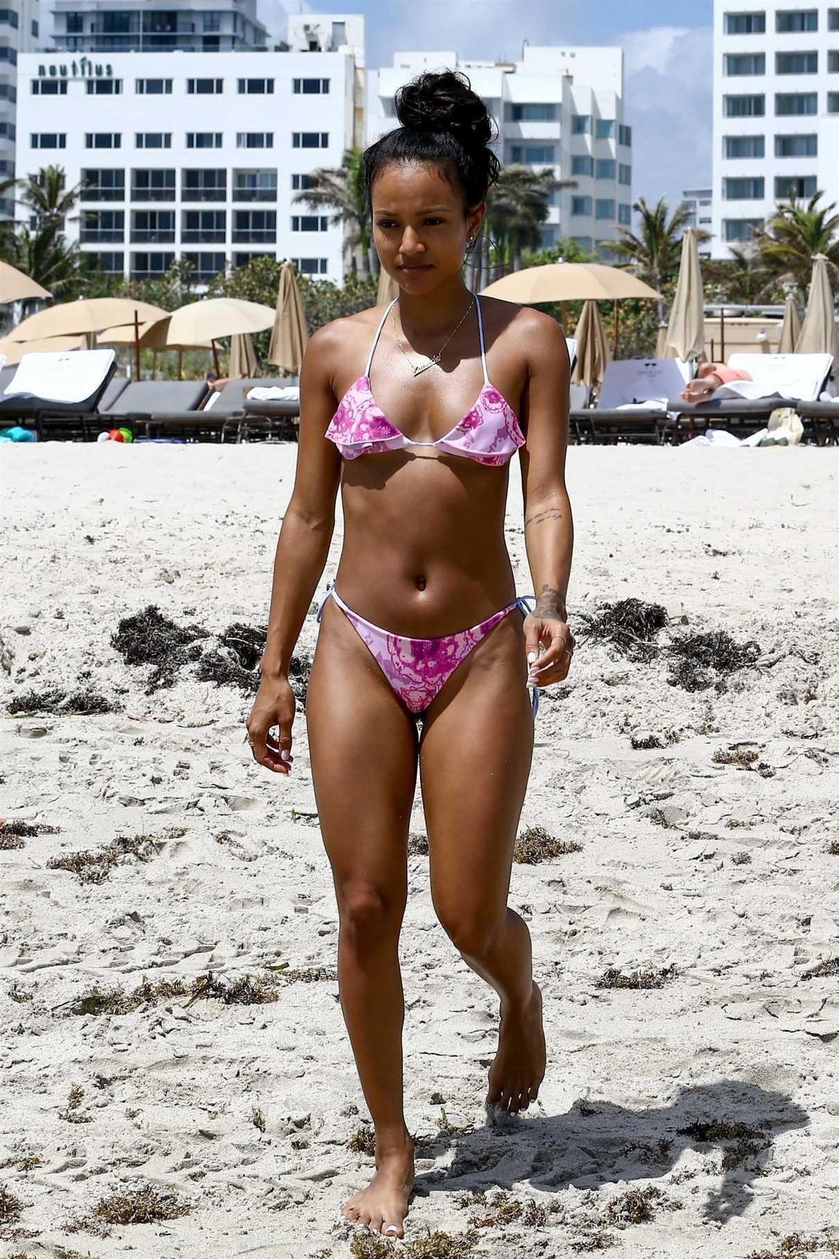 Karrueche Tran in Bikini on the Beach in Miami 04/12/2018-3