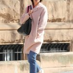 Katie Holmes Wears a Pink Pastel Coat Out in New York City 04/21/2018-2
