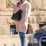 Katie Holmes Wears a Pink Pastel Coat Out in New York City 04/21/2018-3