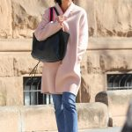 Katie Holmes Wears a Pink Pastel Coat Out in New York City 04/21/2018-4