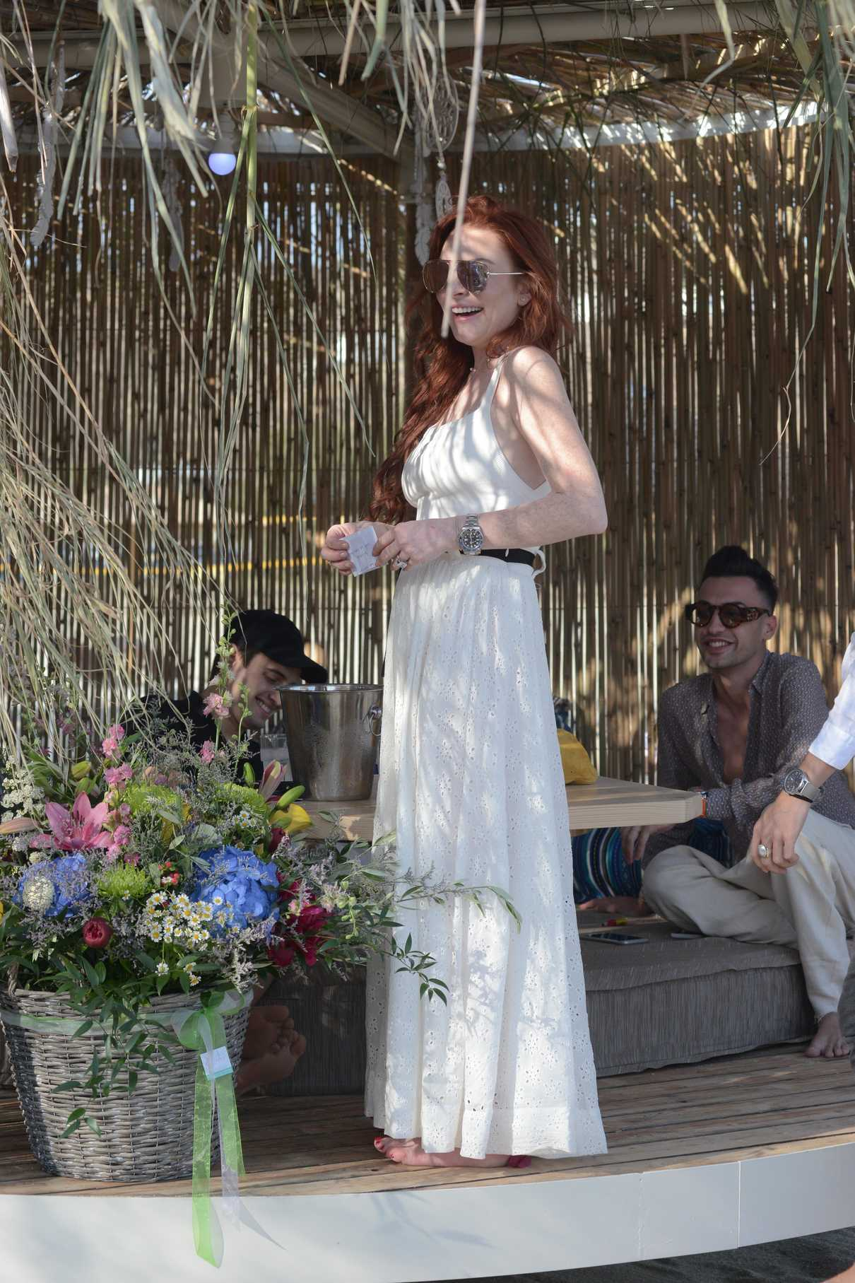Lindsay Lohan Was Seen with Friends at a Beach Bar in Mykonos 05/26/2018-1